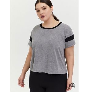 TORRID Crop Relaxed Fit Ringer Tee NWT